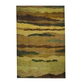 Herat Oriental Indo Hand-knotted Tribal Tibetan Wool Rug (2'7 x 3')