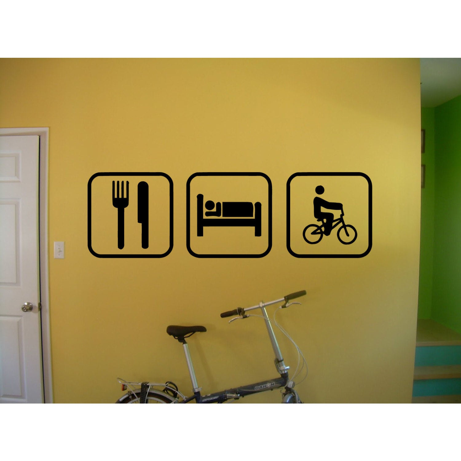 "Eat Sleep Biking BMX Sticker Vinyl Wall Art (20""x35""), Black"
