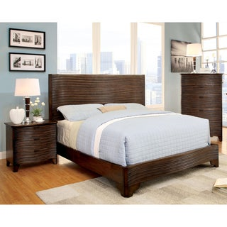 Furniture of America Titanean 2-piece Textured Rustic Bed and Nightstand Set