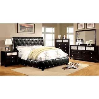 Furniture of America Emmaline Black 4-Piece Bluetooth Bedroom Set (Option: Full)|https://ak1.ostkcdn.com/images/products/10017251/P17164296.jpg?impolicy=medium