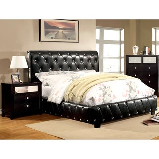 Furniture of America Emmaline Black 2-Piece Bluetooth Bed and Nightstand Set