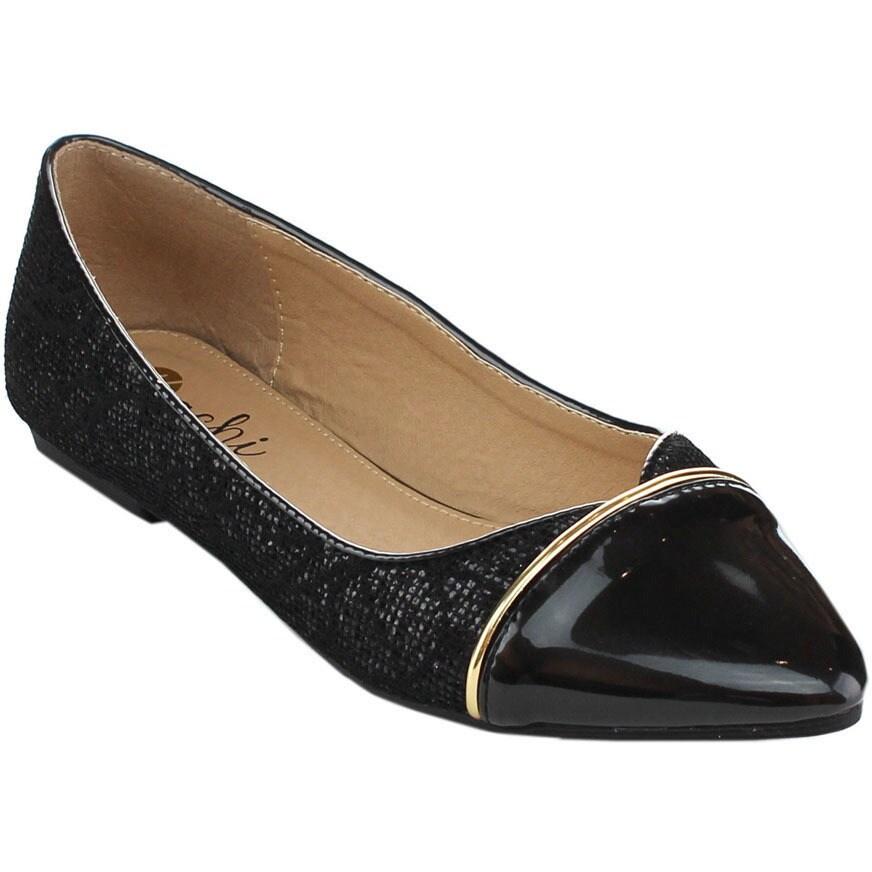 Machi Nova Women's Glitter Ballet Flats (Black-6.5), Size...