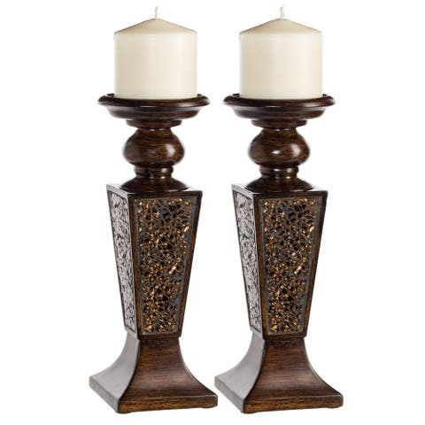 Schonwerk Walnut Decorative Candle Holder (set of 2)