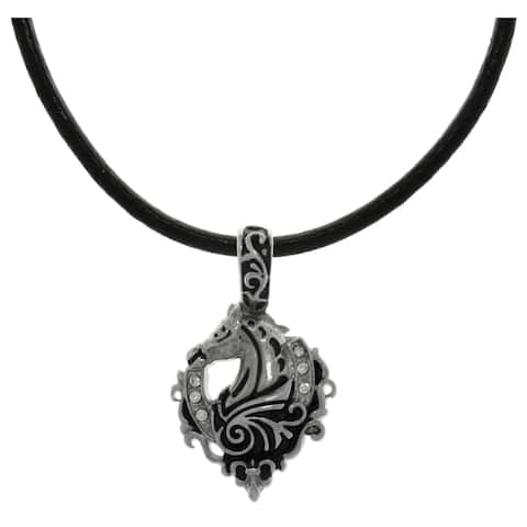 Carolina Glamour Collection Stainless Steel Cubic Zirconia Racing Horse Lucky Horseshoe Black Leather Necklace