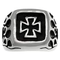 Carolina Glamour Collection Stainless Steel Celtic Iron Cross and Flames Ring