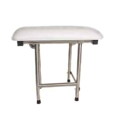 CSI Bathware Rectangle Padded Folding Shower Seat with Swing Down Legs - White