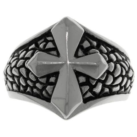 Carolina Glamour Collection Stainless Steel Snake Skin Print Raised Cross Ring