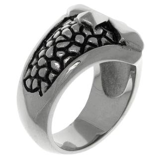 Carolina Glamour Collection Stainless Steel Snake Skin Print Raised Cross Ring