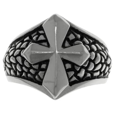 Stainless Steel Band Ring with Raised Cross