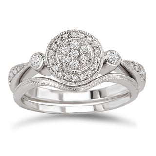 Avanti 14k White Gold 1/4ct TDW Diamond Vintage Round Bridal Ring Set
