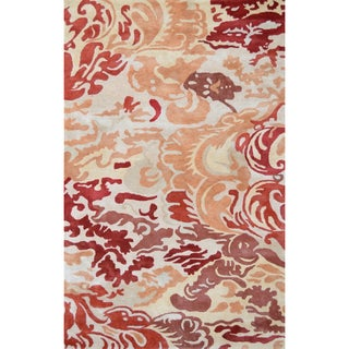 Hand-tufted Niigata Red Wool and Artificial Silk Area Rug (5' x 8')