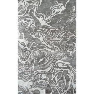 Hand-tufted Marble Gray All Twist Art.Silk Area Rug (5' x 8')
