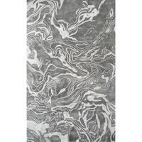 Hand-tufted Marble Gray All Twist Art.Silk Area Rug - 5' x 8'