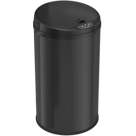 iTouchless Deodorizer 8-gallon Round Sensor Matte Finish Black Trash Can