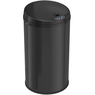 iTouchless Deodorizer 8-gallon Round Sensor Matte Finish Black Trash Can