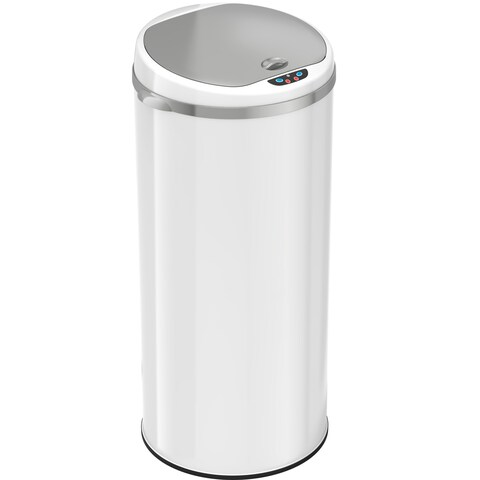 iTouchless Deodorizer 13-Gallon Round Sensor Pearl White Matte Finish Trash Can
