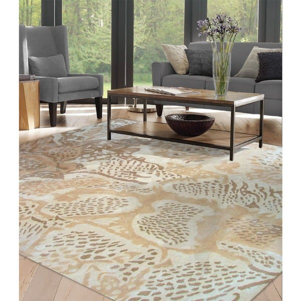 Hand-tufted Uma Beige All Twist Art.Silk Area Rug - 5' x 8'