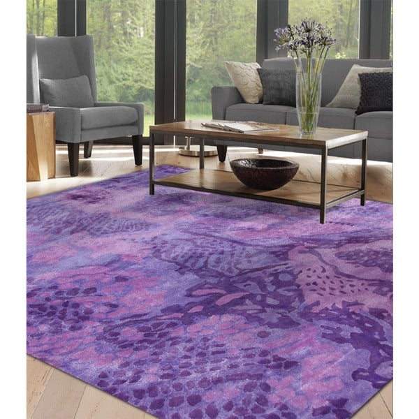 Hand-tufted Uma Purple All Twist Art.Silk Area Rug (5' x 8')