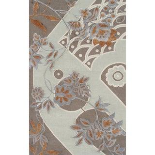 Hand-hooked Shusu New Zealand Wool and Artifical Silk Area Rug (5' x 8')