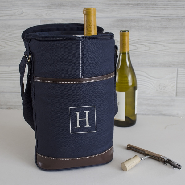 personalized navy wine bottle cooler with opener free shipping on orders over 45 overstock. Black Bedroom Furniture Sets. Home Design Ideas