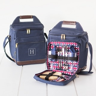 Personalized Monogram Navy Blue Picnic Cooler Set