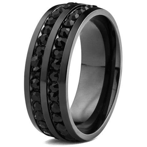 Black Plated Stainless Steel Cubic Zirconia Eternity Band Ring (8mm)