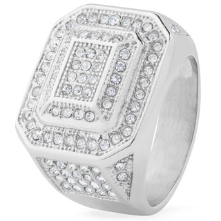 Men's Stainless Steel Micro Pave Cubic Zirconia Ring