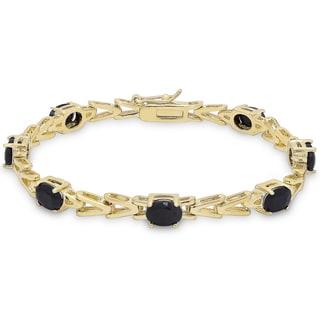Dolce Giavonna Gold Overlay Sapphire 'V' Link Bracelet