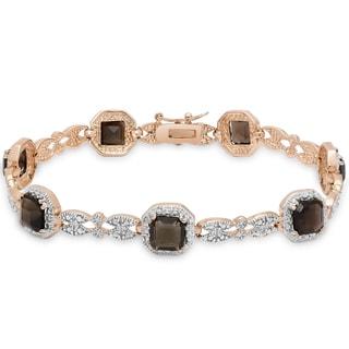 Dolce Giavonna Rose Gold Overlay Square-cut Smokey Quartz Bracelet