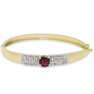 Dolce Giavonna Gold Overlay Garnet and Diamond Accent Greek Key Bangle
