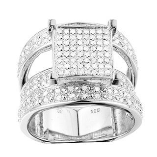 Sterling Silver 7/8ct TDW Micro-pave Diamond Engagement Ring (G-H, I2-I3)