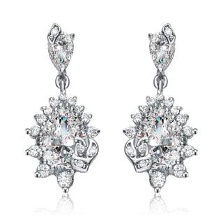 Collette Z White Cubic Zirconia Sterling Silver Elegant Dangle Earrings
