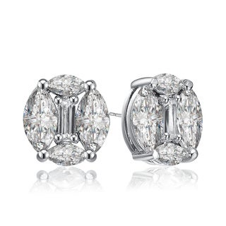 Collette Z White Cubic Zirconia Sterling Silver Round Earrings