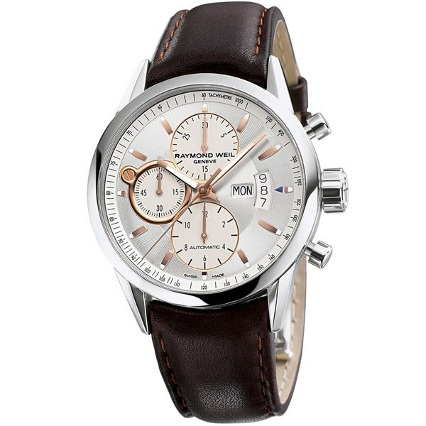 f950ece9993 Shop Raymond Weil Men s 7730-STC-65021  Freelancer  Chronograph Automatic  Brown Leather Watch - Free Shipping Today - Overstock - 10017782
