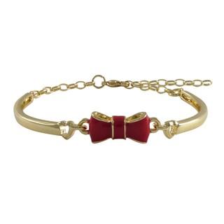 Gold Finish Girls Enamel Bow Bangle Bracelet (Girls – Red)