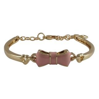 Gold Finish Girls Enamel Bow Bangle Bracelet (Girls – Light Pink)