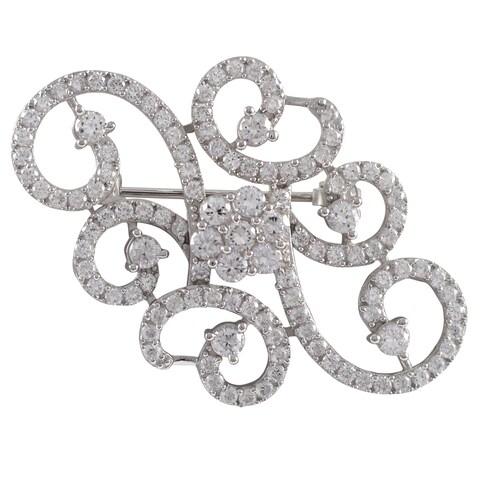 Luxiro Sterling Silver Cubic Zirconia Filigree Flower Swirl Pin Brooch