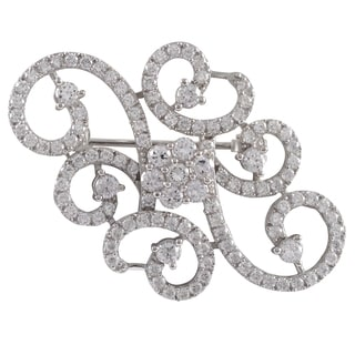 Luxiro Sterling Silver Cubic Zirconia Filigree Flower Swirl Pin Brooch