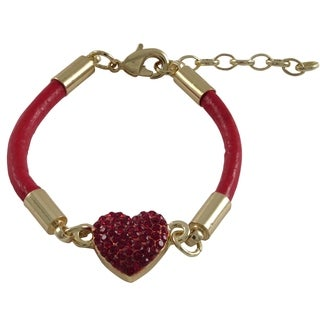 Luxiro Gold Finish Crystals Heart Cord Bracelet