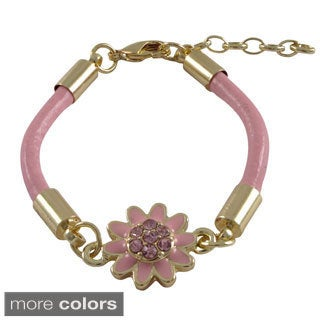Luxiro Gold Finish Crystals Enamel Flower Cord Bracelet