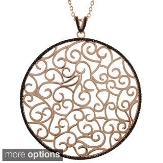 Luxiro Sterling Silver Gold Finish Cubic Zircoina Filigree Swirls Large Circle Pendent Necklace