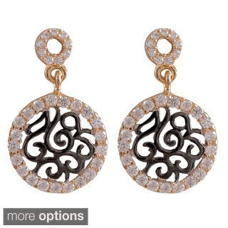 Luxiro Sterling Silver Gold Finish Cubic Zirconia Filigree Swirls Circle Earrings