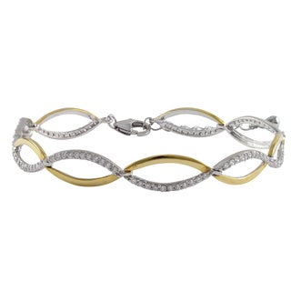 Luxiro Sterling Silver Gold Finish Cubic Zirconia Two Tone Double Wave Infinity Bracelet