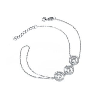 Collette Z Sterling Silver Cubic Zirconia Circle Swirl Design Bracelet