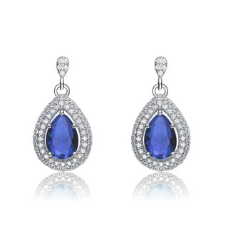 Collette Z Blue and White Cubic Zirconia Sterling Silver Pear Drop Earrings