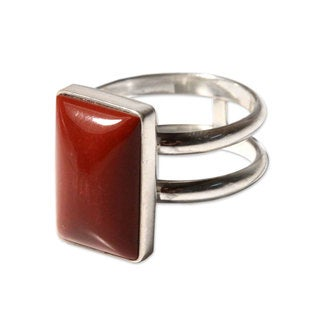 Handmade Sterling Silver 'Passion' Jasper Ring (Peru)