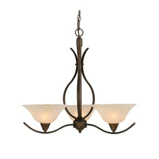 Cambridge 3-Light Bronze 23.5 in. Chandelier with Amber Marble Glass