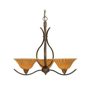 Cambridge 3-Light Bronze 23.5 in. Chandelier with Tiger Glass