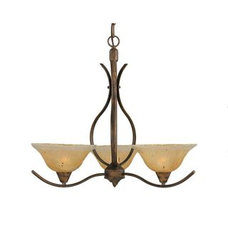 Cambridge 3-Light Bronze 23.25 in. Chandelier with Amber Crystal Glass