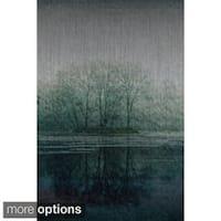 Parvez Taj 'Apple Lake' Painting Print on Brushed Aluminum
